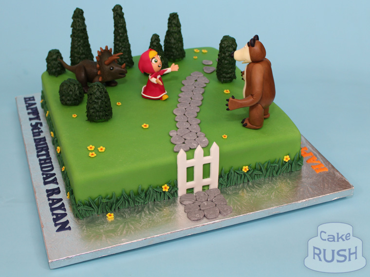 Masha and the Bear / Dinosaur cake